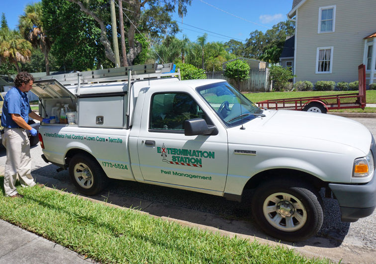Extermination Station Lawn Care Service Truck